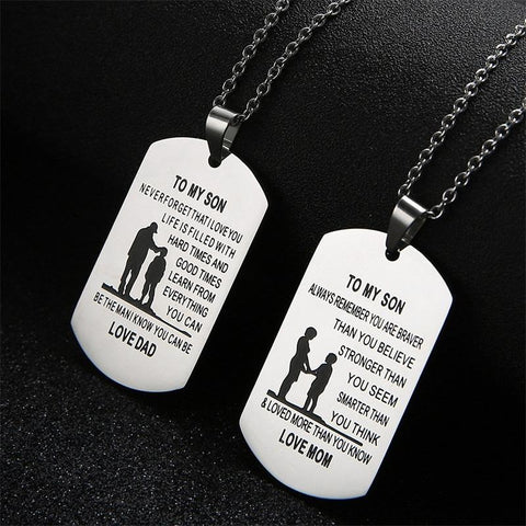 TO MY SON LOVE DAD AND MOM NECKLACE