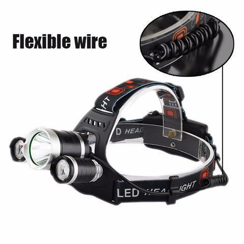 MyMobileGear Super Headlamp - 12000 Lumen, Xm-l T6, 2x18650 Battery + Car & Wall Chargers