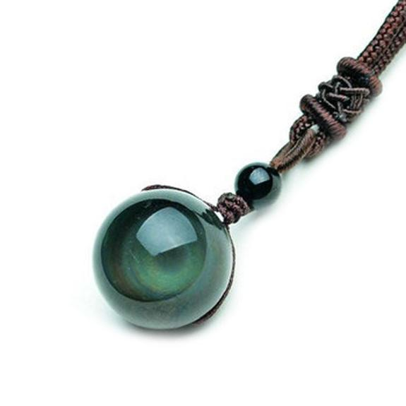 Natural Rainbow Eye Obsidian Orb Pendant Necklace
