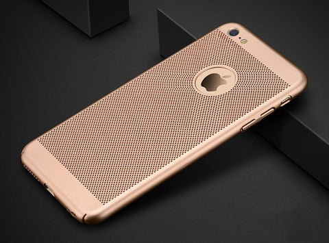 Ultra Slim Grid Heat Dissipate Phone Cases For iPhone 6 S 6S 7 8 Plus X Matte Hard PC Protective Cover