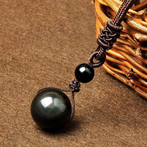 Image of Natural Rainbow Eye Obsidian Orb Pendant Necklace