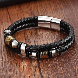 XQNI Genuine Leather Bracelet Double Layer 19/21/23CM Gold/Silver Color Special Jewelry For Men Father's Day Gift Big Discount