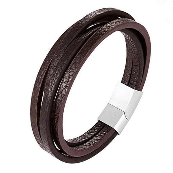 2019 New Design Multi-layers Handmade Braided Genuine Leather Bracelet & Bangle For Men Stainless Steel Fashion Bangles Gifts