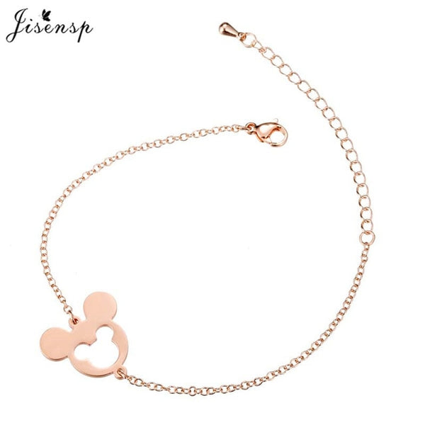 Jisensp Stainless Steel Cute Mickey Pendant Bracelet Charm Jewelry for Women Cartoon Minnie Bracelets Bangles Kid pulseras mujer