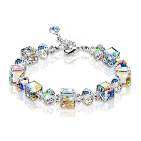 Sparkling Aurora Crystals Link Chain Stretch Bracelet Women Fashion Jewelry Gift