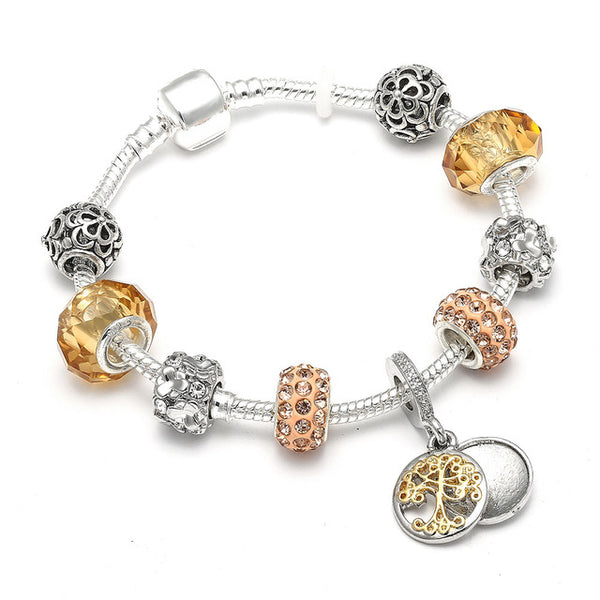 Vintage Silver Color Charm Bracelet with Tree of life Pendant & Gold Crystal Ball Pandora Bracelet Dropshipping