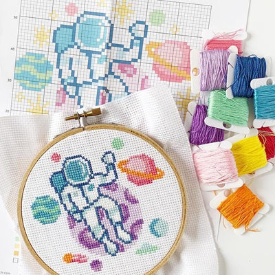 Space Explorer Cross Stitch Kit - Case of 4