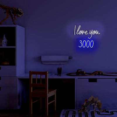 LED Wall Neon Sign 'I Love You 3000' White & Blue - Case of 1