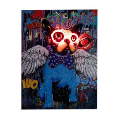 'Dog Glasses & Wings' Wall Artwork - LED Neon