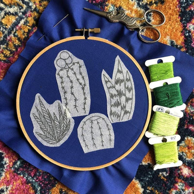 Detailed Cactus Designs DIY Embroidery Pattern - Case of 3