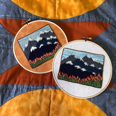 PNW Mountain + Tulip Landscape DIY Embroidery Kit - Case of 3