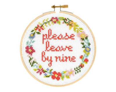 Please Leave By Nine Cross Stitch Kit - Case of 4