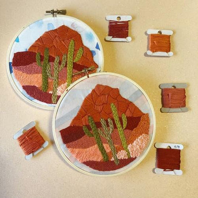 Cactus Desert DIY Embroidery Kit - Case of 3