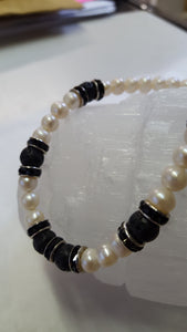 Pearl, Pumice and Black Onyx necklace