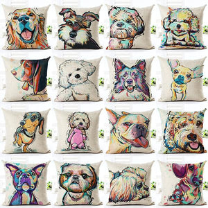 decorative throw pillow with dog breeds