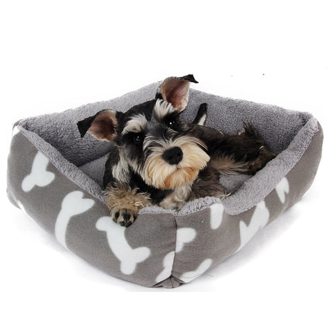 Bone print dog bed gray