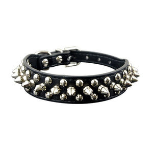 spiked and rivot dog collar black