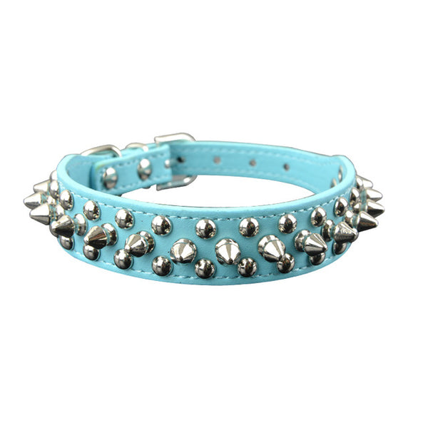 spiked and rivot dog collar blue