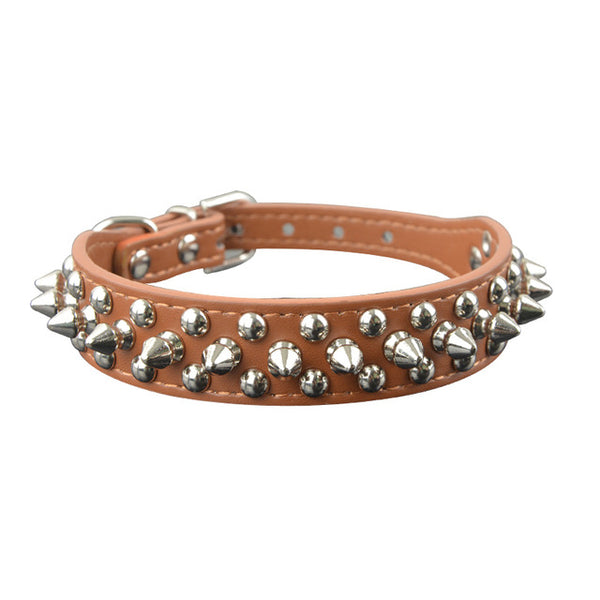 spiked and rivot dog collar brown