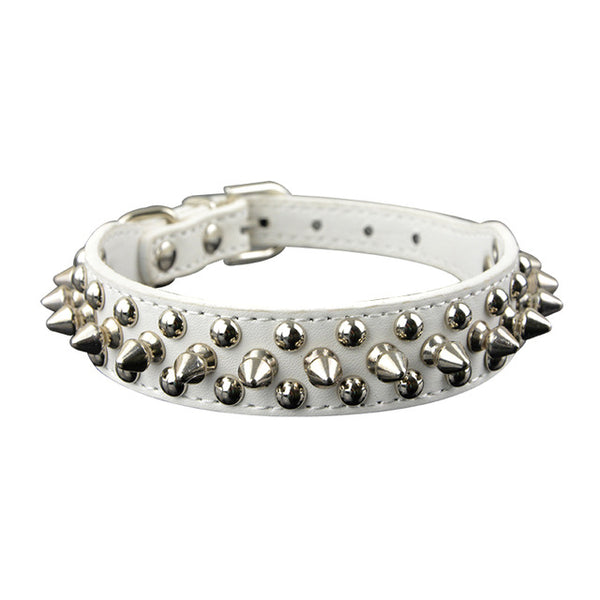 spiked and rivot dog collar white