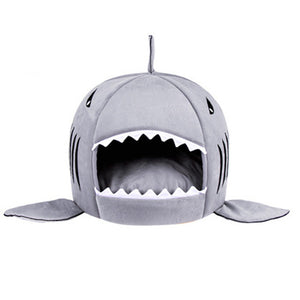shark shaped doghouse gray