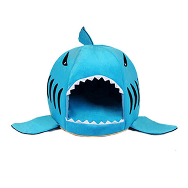 shark shaped doghouse blue