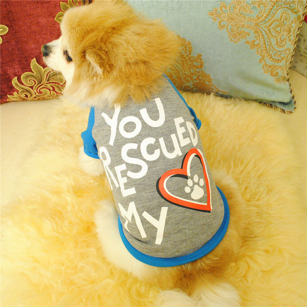 Rescue My Heart Dog Shirt Gray/Blue