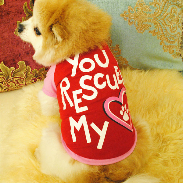 Rescue My Heart Dog Shirt Red/Pink