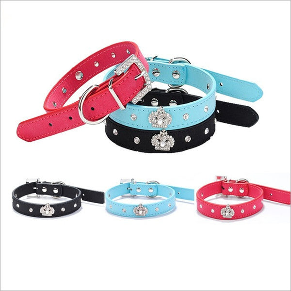 Dog collar with rhinestone crown