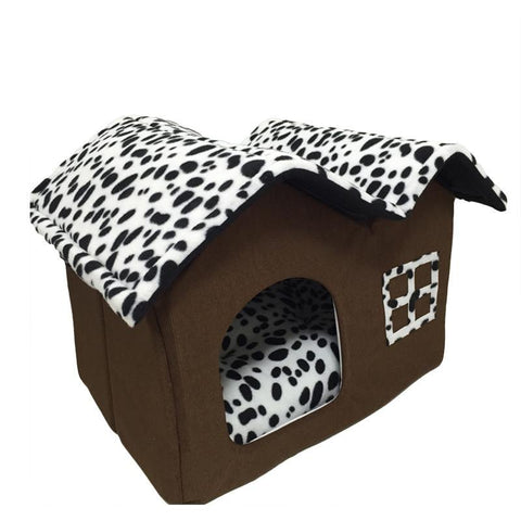 Classic Style Doghouse and bed with spotted pattern small dog