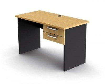 Office Desk with Drawers Beech and Ironstone