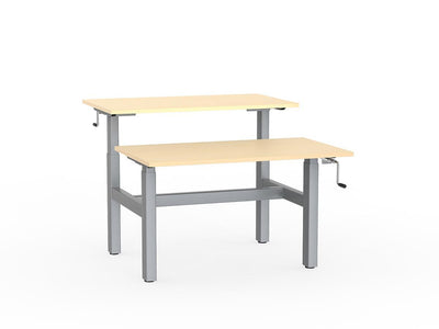 double sided manual height adjustable standing desk