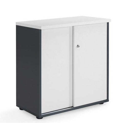 Milan Cupboard White/Dark Grey