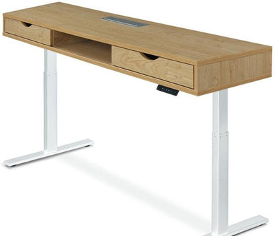 Standing Desk with Drawers Atlantic Oak Top White Legs