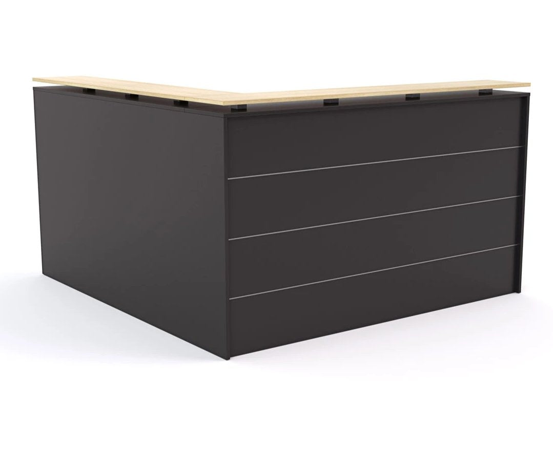 Reception desk Black with Atlantic Oak Wood Grain