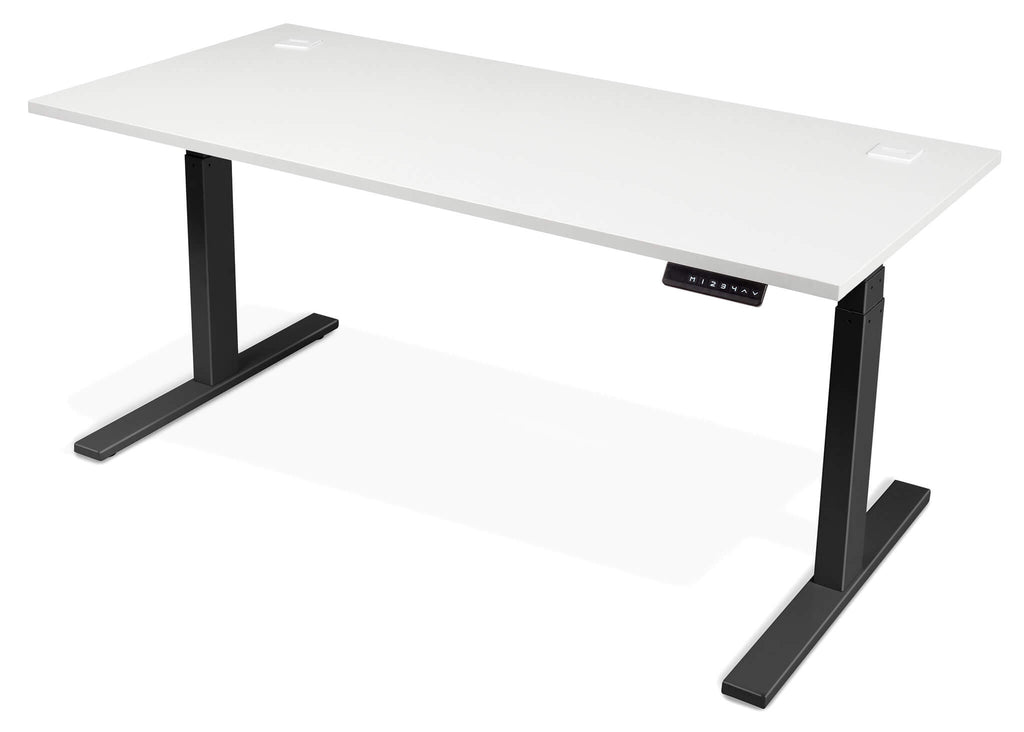 Evolve Electric Height Adjustable Standing Desk White Top Black legs
