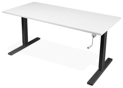 Manual Crank Standing Desk White Desktop Black Frame