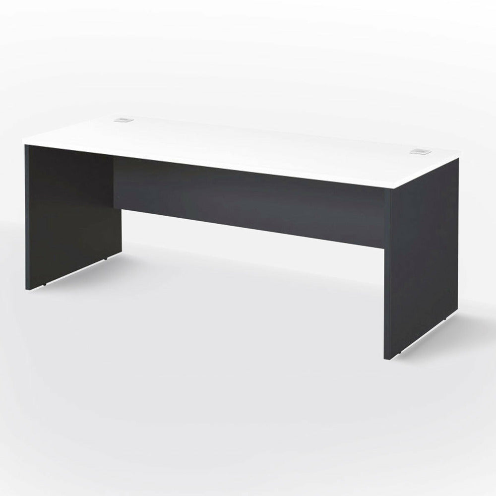 Slab end office desk with modesty panel.