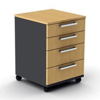 4 Drawer Under Desk Mobile Pedestal