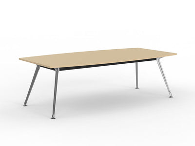 Team 2400 x 1200 Boardroom Table Nordic Maple Top Polished Alloy Legs