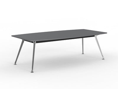 Team 2400 x 1200 Boardroom Table Silver Top Polished Alloy Legs