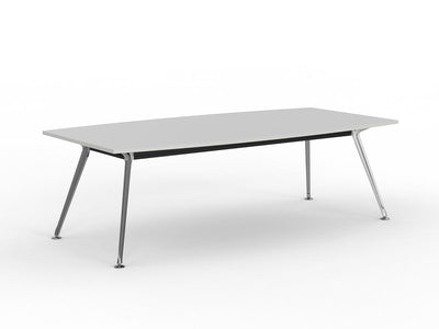 Team 2400 x 1200 Boardroom Table White Top Polished Alloy Legs