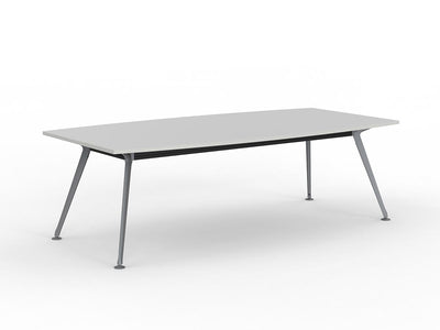 Team 2400 x 1200 Boardroom Table White Top Silver Legs