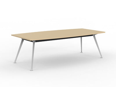 Team 2400 x 1200 Boardroom Table Nordic Maple Top White Legs