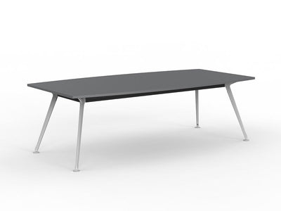 Team 2400 x 1200 Boardroom Table Silver Top White Legs