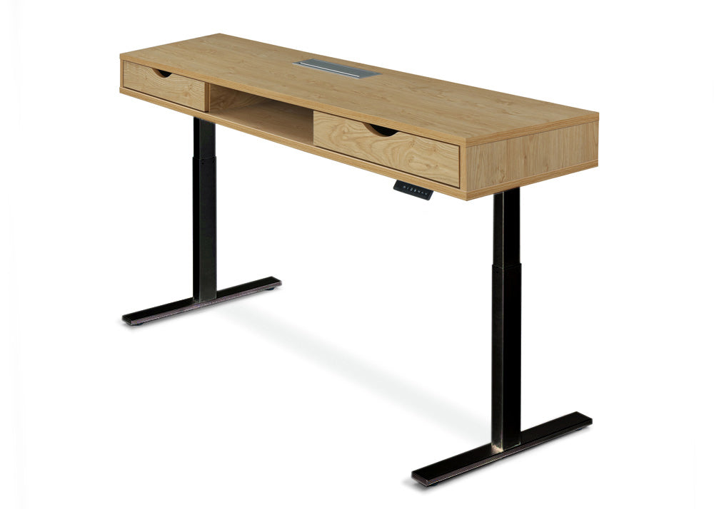 Evolve Premio Series Standing Desk With Drawers 1500 x 700 English Oak Black Legs