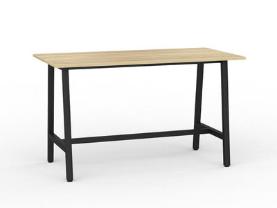 Bar Leaner Black Metal Frame Wood Grain Top