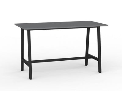 Bar Leaner Black Metal Frame Silver Top
