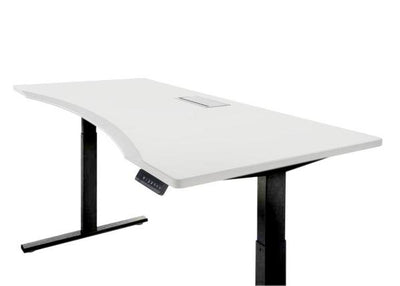 ergonomic electric standing desk in white with black legs