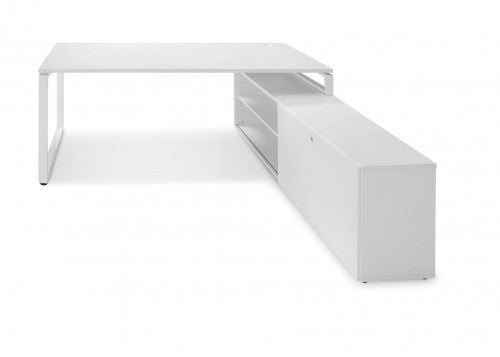 Ultimo Workstation: Desk and Cupboard Return 1800 x 1600 Standard Leg White